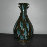 14.4 Old Chinese Antique Porcelain Republican Green Glaze Fambe Yuhuchun Vases