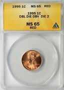 1995 Lincoln Memorial Cent 1c Anacs Ms65 Red Ddo - Die 2