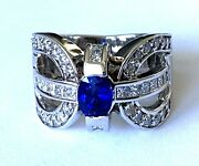 18k White Gold Natural Sapphire 46 Diamond Ladies Cocktail Ring Band Size 7.25
