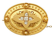 Antique Victorian 0.88ct Diamond And 15k Yellow Gold Brooch Locket