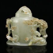 5 100 Natural Old Chinese Hetian Jade Carved Pine Deer Plum Blossom Statues