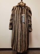 Long Silver Racoon Fur Coat Full Length From Germany