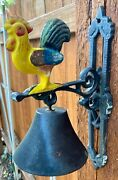Chicken Rooster Bell Dinner School Cast Iron Country Farm W/ Wall Mount-vintage
