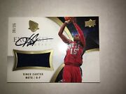 2007-08 Ud Exquisite Vince Carter Game Used Patch Autograph 30/35 Gold Auto