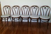 Vintage Set Of 5 Thonet Style Bentwood Bistro Dining Chairs With Paded Seats