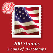 200 Usps Forever Stamps 2 Coils Of 2017 Us Flag First Class Mail Postage