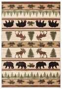 Bear Moose Pine Pinecone Lodge Cabin Carved Area Rug Free Shipping