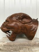 Saletop Quality Tiger/gargoyle Head/face Carved In Wood Simply An Art Piece