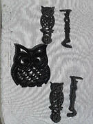 Vintage Cast Iron Trivets Hanging Owls And Owl Hot Plate 5 Piece Lot