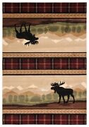 Moose Mountain Forest Lodge Cabin Carved Plaid Area Rug Free Shipping