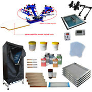 4 Color 1 Station Screen Printing Simple Press Tools Kit With Drying Cabinet
