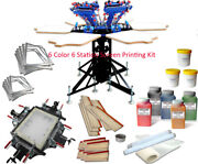 6 Color 6 Station Silk Screen Printing Machine With Screen Stretcher Materials