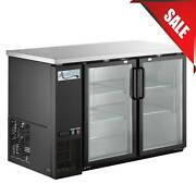 48 Black Counter Height Narrow Glass Door Back Bar Refrigerator W/ Led Lighting