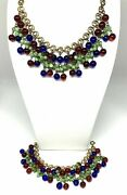 Vintage 1930's Necklace And Bracelet Set W Red Blue And Faux Jade Dangle Beads