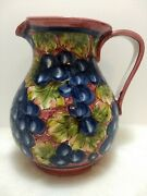 Fatto A Mano Montelupo Italy 8 Pitcher Handmade Hand Painted Grapes And Leaves