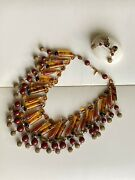 Vtg Signed Miriam Haskell Egyptian Revival Bib Cleopatra Necklace Earrings Set