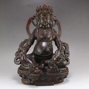 9.2 Old China 100 Natural Red Sandalwood Handcarved Yellow Jambhala Statues