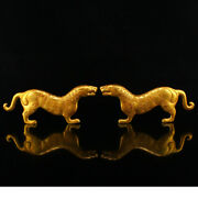 5.9 Antique China Bronze 24k Gilt Handcarved A Pair Tiger Exquisite Statues