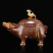 4.3 100 Natural Antique China Hetian Jade Handcarved Cattle Bird Statues