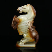 4.8 Chinese Old 100 Natural Hetian Jade Handcarved Exquisite Horse Statues