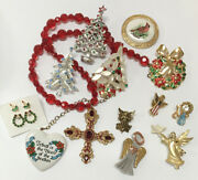 Vintage Rhinestone Christmas Holiday Jewelry Collection Lot Angels Cross Heart +
