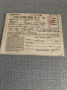 Vintage Wwii World War 2 Ration Book No 3 With 189 Stamps Geary Name