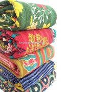 Wholesale Lot Of 5 Vintage Handmade Kantha Quilts,reversible Throws