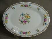 Liling Fine China 14 X 10 Oval Serving Platter In The Ling Rose Pattern