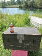 Vtg Us Army Foot Locker Chest Military Trunk Sig Corps Old Big Heavy Beauty