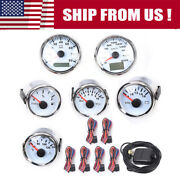 Universal 6 Gauge Set White With Senders And Led Gauges White For Car Boat Usa Hot