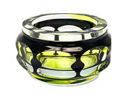 Moser Black To Clear And Green Art Glass Octagonal Lobed Bowl, Mid Century