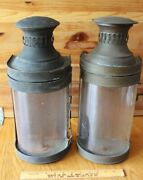 2 Copper And Brass Lantern Wall Mount Vintage Light Sconce Buggy Oil Lamp Handmade