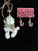 Betsey Johnson Blue Crystal Resin Poodle Necklace / Earrings