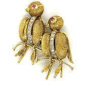 15k Two-toned Yellow And White Gold Love Bird Diamonds And Rubies Pin Brooch