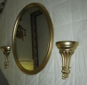 Set Of 3=vintage Large Syroco Oval Wall Mirror And 2=pocket Planters Gold