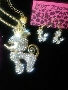 Betsey Johnson Crystal Poodle Necklace Earrings