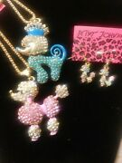 Betsey Johnson Pink Or Blue Crystal Poodle / Earrings