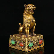 4.3 Antique Chinese Bronze 24k Gilt Gem Inlay Eight Diagrams Tiger Seal Statues