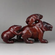 6.4 Chinese Old 100 Natural Hetian Jade Handcarved Three Black Bear Statues