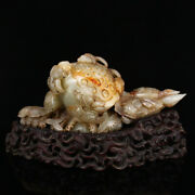 9.9 100 Natural Chinese Old Hetian Jade Handcarved Exquisite Lotus Fish Statue