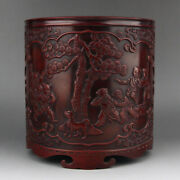 6.9 Old Chinese 100 Natural Purple Copper Handcarved Pine Child Brush Pots