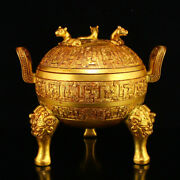 6.6 Antique Chinese Handcarved Copper 24k Gilt Beast Pattern Incense Burners