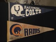 Vintage Baltimore Colts Los Angeles Rams Pennant Flags 70s Nfl Retro