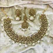 Antique Gold Pearl Indian Necklace Earring Tikka Set With Gold Diamante