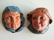 Antique 19th Century Gula And Ira Sculpted Heads Gluttony And Indignation