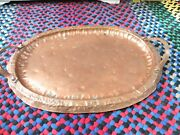 Vintage Hammered Copper 2 Handle Tray 19 3/4