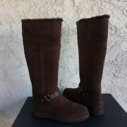 Ugg Classic Berge Tall Dark Toast Suede Shearling Knee High Boots Size 6 Women
