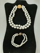 Pearl Costume Jewelry Double Choker Necklace Gold-tone 14 With Bracelet F51