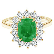 Princess Diana Inspired Emerald With Halo Fine Yellow Gold Women Ring