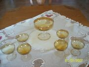 Punch Bowl And 6 Glasses Antique Set Gold Etched Scalloped Edges To Clear